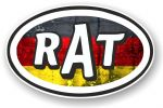 RAT Oval Funny Parody Design With Germany German Flag Motif Vinyl Car sticker decal 120x77mm